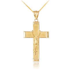 Gold Guadalupe Latin Cross Rosary Pendant Necklace