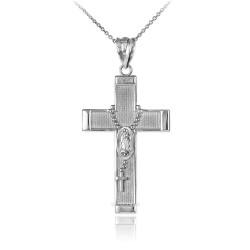 Sterling Silver Latin Cross Guadalupe Rosary Pendant Necklace