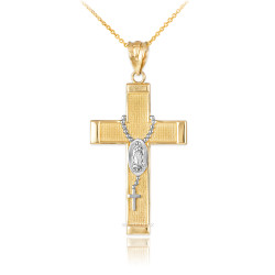 Two-Tone Gold Guadalupe Latin Cross Rosary Pendant Necklace