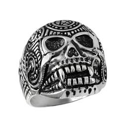 Sterling Silver Mens Sugar Skull Biker Ring
