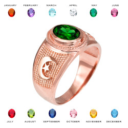Rose Gold Islamic Crescent Moon CZ Birthstone Ring