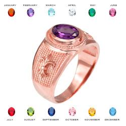 Rose Gold Fleur De Lis CZ Birthstone Ring