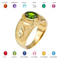 Yellow Gold Cash Money Dollar CZ Birthstone Ring