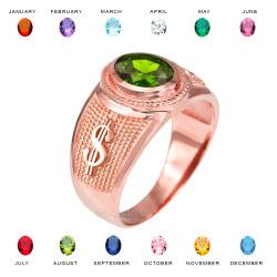 Rose Gold Cash Money Dollar CZ Birthstone Ring