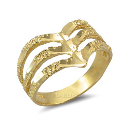 Triple Chevron Gold Nugget Ladies Ring