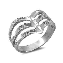 Triple Chevron White Gold Nugget Ladies Ring