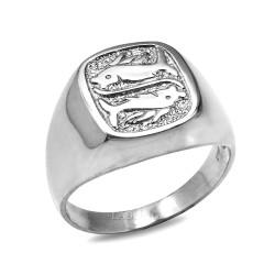 White Gold Pisces Mens Zodiac Ring