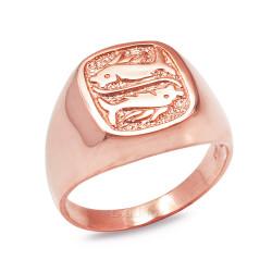 Rose Gold Pisces Mens Zodiac Ring
