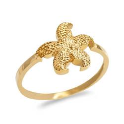 Dainty Yellow Gold Starfish Ring