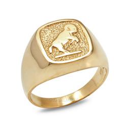 Yellow Gold Aries Mens Zodiac Ring
