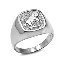White Gold Aries Mens Zodiac Ring