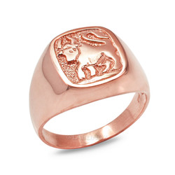 Rose Gold Taurus Mens Zodiac Ring