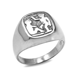 White Gold Gemini Mens Zodiac Ring