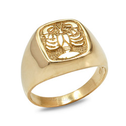 Yellow Gold Cancer Mens Zodiac Ring