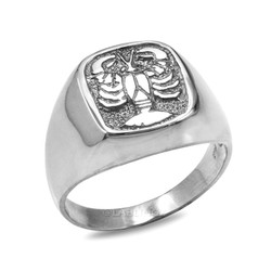 White Gold Cancer Mens Zodiac Ring