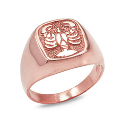 Rose Gold Cancer Mens Zodiac Ring