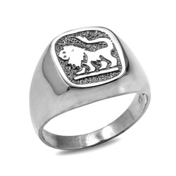 White Gold Leo Mens Zodiac Ring