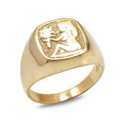 Yellow Gold Virgo Mens Zodiac Ring