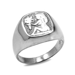 White Gold Virgo Mens Zodiac Ring