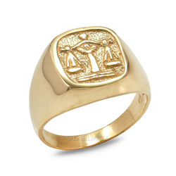 Yellow Gold Libra Mens Zodiac Ring
