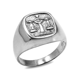 White Gold Libra Mens Zodiac Ring