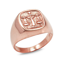 Rose Gold Libra Mens Zodiac Ring