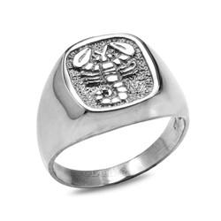 Sterling Silver Scorpio Mens Zodiac Ring