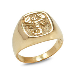Yellow Gold Scorpio Mens Zodiac Ring