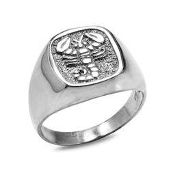 White Gold Scorpio Mens Zodiac Ring