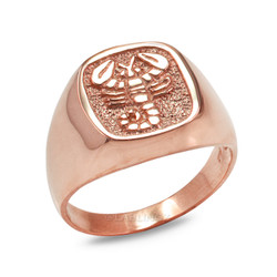 Rose Gold Scorpio Mens Zodiac Ring