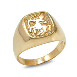 Yellow Gold Sagittarius Mens Zodiac Ring