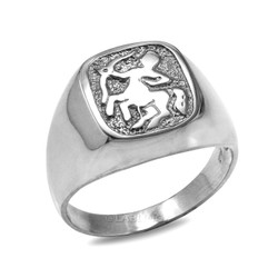 White Gold Sagittarius Mens Zodiac Ring