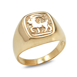 Yellow Gold Capricorn Mens Zodiac Ring