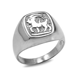White Gold Capricorn Mens Zodiac Ring