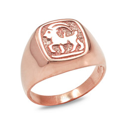 Rose Gold Capricorn Mens Zodiac Ring