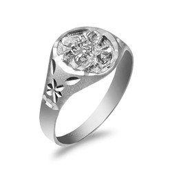 White Gold Scorpio Satin DC Band Ladies Zodiac Ring