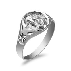 White Gold Pisces Satin DC Band Ladies Zodiac Ring
