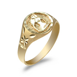 Yellow Gold Aquarius Satin DC Band Ladies Zodiac Ring