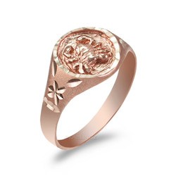 Rose Gold Cancer Satin DC Band Ladies Zodiac Ring