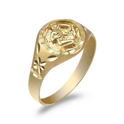 Yellow Gold Sagittarius Satin DC Band Ladies Zodiac Ring