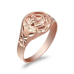 Rose Gold Sagittarius Satin DC Band Ladies Zodiac Ring