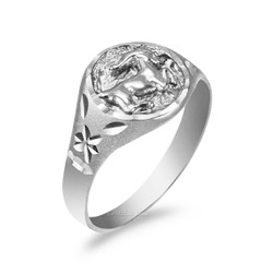 White Gold Capricorn Satin DC Band Ladies Zodiac Ring