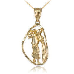 Gold Aquarius Zodiac Sign DC Pendant Necklace