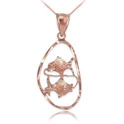Rose Gold Pisces Zodiac Sign DC Pendant Necklace