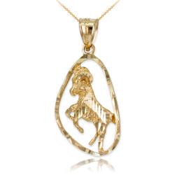 Gold Aries Zodiac Sign DC Pendant Necklace