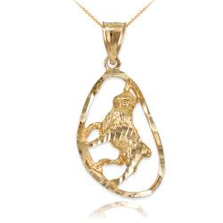 Gold Taurus Zodiac Sign DC Pendant Necklace