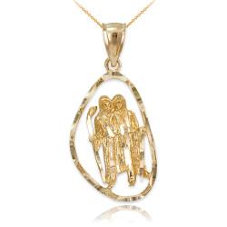 Gold Gemini Zodiac Sign DC Pendant Necklace