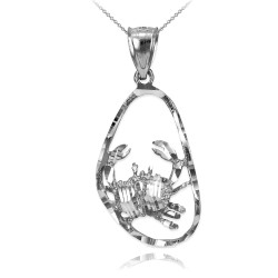 White Gold Cancer Zodiac Sign DC Pendant Necklace