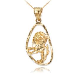 Gold Leo Zodiac Sign DC Pendant Necklace