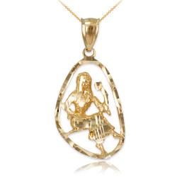 Gold Virgo Zodiac Sign DC Pendant Necklace